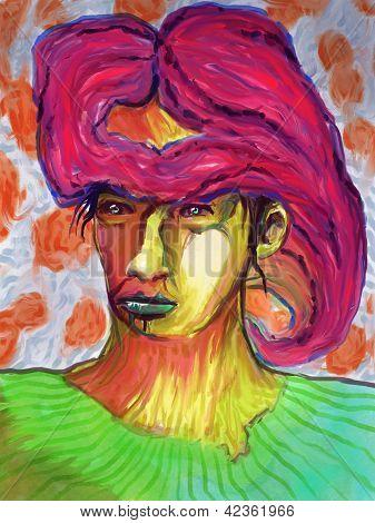 Mixed Media Abstract Face - Digital Painting