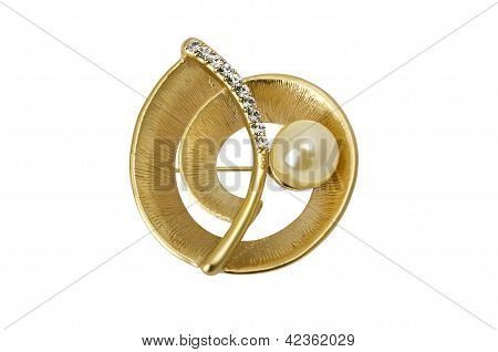 Beautiful Jewelry - Golden Brooch Isolated Over White