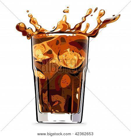 Splashing cola soft drink - illustration