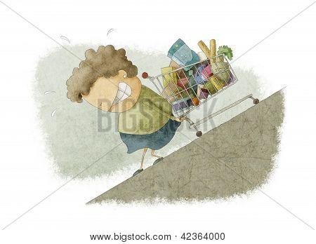 woman pushing a shopping cart up