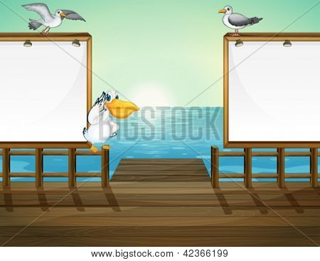 Illustration of birds in the port