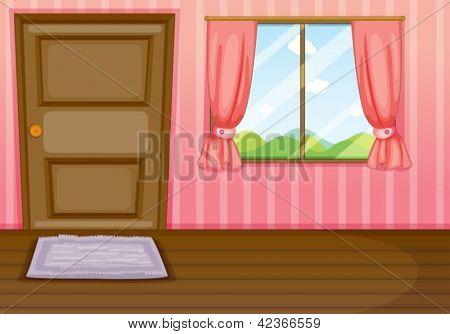 Beispiel für ein Fenster und eine Tür in einen Raum