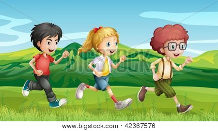 Illustration of kids running across the hills