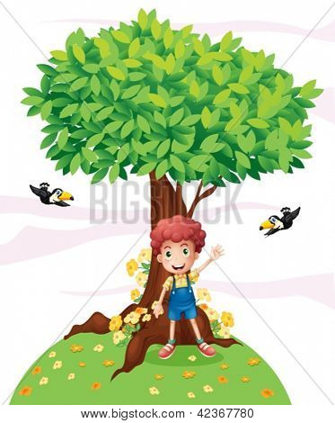 Illustration of a young boy standing under a big tree with two birds on a white background