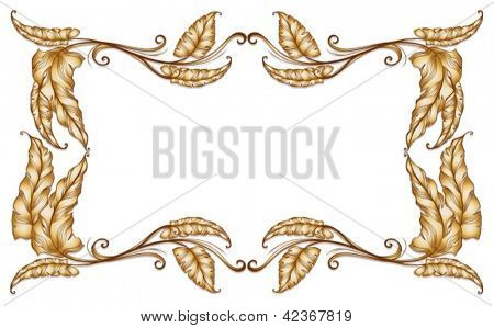 Illustration of a frame of leaves on a white background