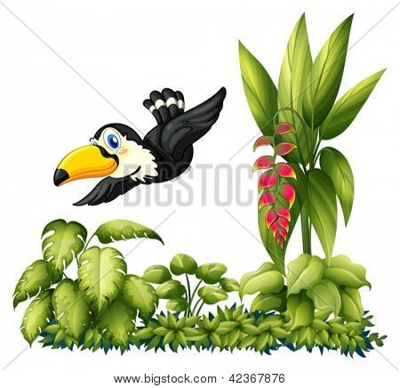 Illustrtaion of flying bird in the garden on a white background
