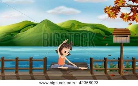 Illustration of a girl excercising along the seaside