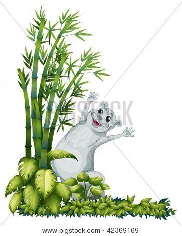 Abbildung eines fröhlich Tieres neben einem Bambus-Baum auf weißem Hintergrund