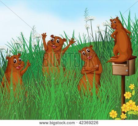 Ilustração de animais silvestres perto de colinas