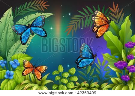 Illustration of butterflies in the garden