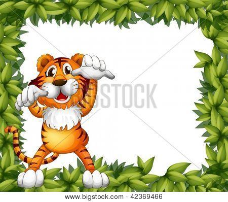Abbildung eines Tiger und Pflanze Frames auf weißem Hintergrund