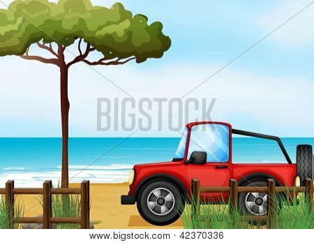 Illustration of a red jeepney at the beach