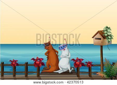 Ilustración de lobos marinos en el puerto