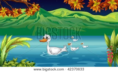 Illustration of a mother duck and her ducklings in the river