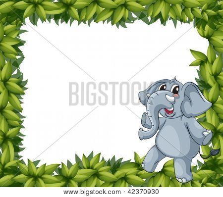 Abbildung eines lächelnden Elefant und Pflanze Frames