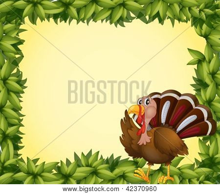 Illustration of a turkey on a leafy frame