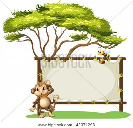 Illustration of a monkey and a bee on a white background