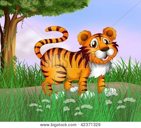 Illustration of a tiger and a beautiful nature