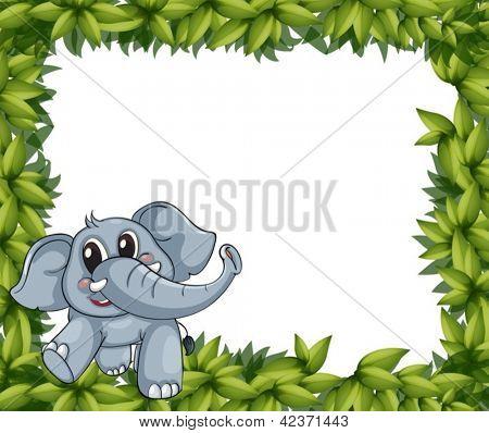 Abbildung eines lächelnden Elefant und Pflanze Frames auf weißem Hintergrund