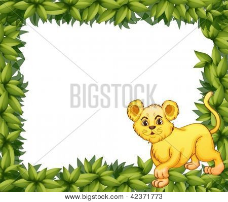 Illustration of a young tiger in a blank leafy signage