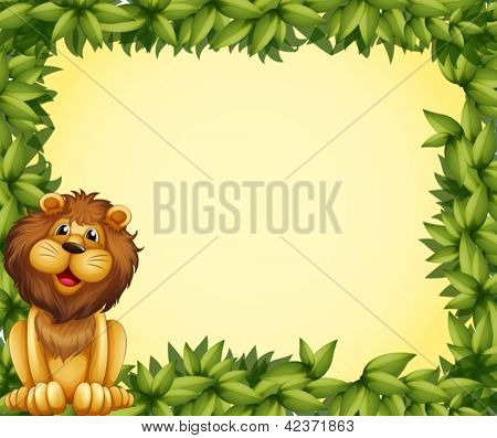 Illustration of a lion and a leafy frame template