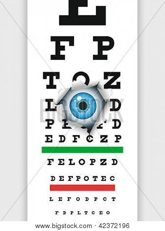 Eye examination through medical eye chart. Humorous illustration. Vector format EPS 8, CMYK.