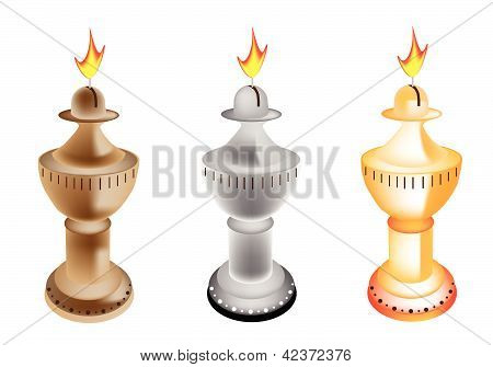 An Illustration Set Of Old Fashioned Oil Lamp