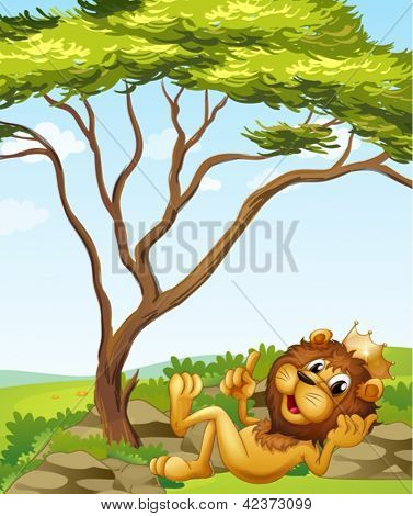 Illustration of a king lion lying down near the tree