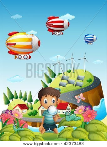 Illustration of airships, a village and a boy in the garden