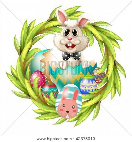 Illustration of an easter design with a bunny, eggs and leafy plant