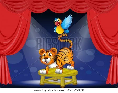 Illustration of a tiger and a colorful parrot performing on the stage