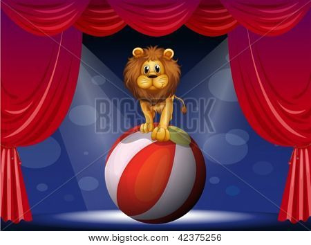 Illustration of a lion above a hot air balloon