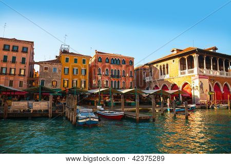 Rialto Market In Venice, Italy As Seen From The Grand Canal