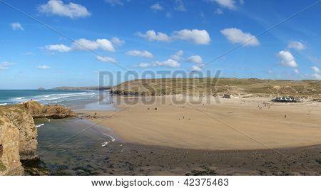 Perranporth beach panorama, Cornwall England.