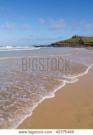 Porthmeor beach shore, St. Ives Cornwall UK.