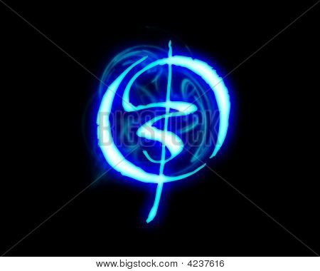Blue Flame Magic Font Over Black Background. Letter O ...