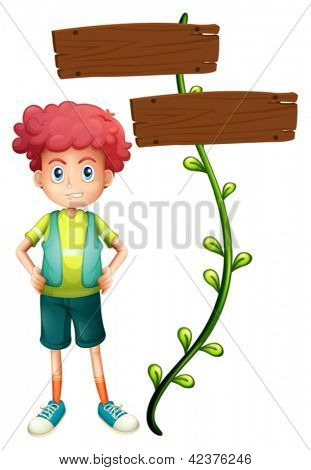 Illustration of a boy at the back of a two-plank wooden signage on a white background