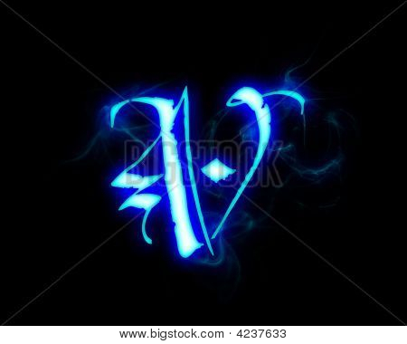 Blue Flame Magic Font Over Black Background. Letter V ...