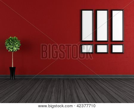 Empty Red And Black Room
