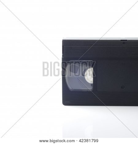 A part of video cassettes isolated on white background.