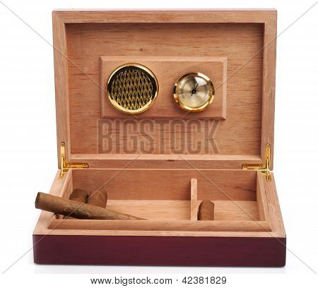 Opened humidor with cigars isolated on white background