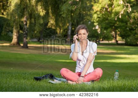 Pretty Young Woman Phones
