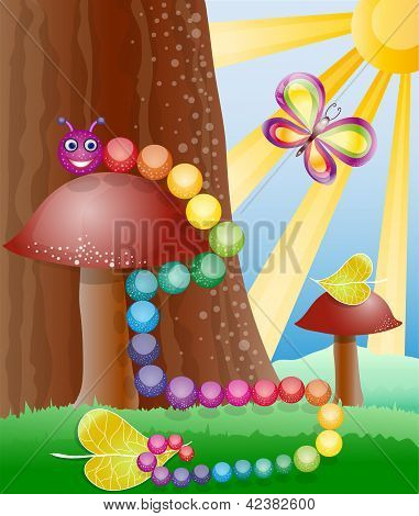 Cartoon picture with nature butterly and caterpillar