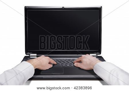 Male Hands On The Laptop Isolated Over White Background