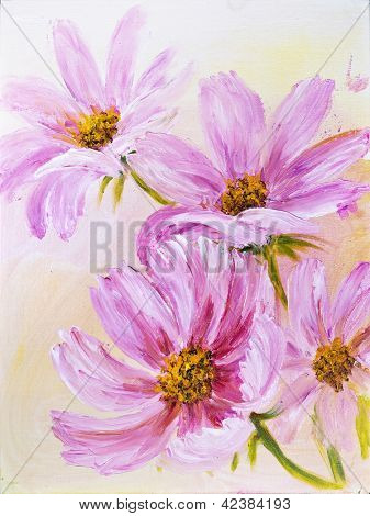 Cosmos Flowers, oil painting on canvas