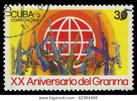 Cuba - Circa 1976: Stamp Printed In Cuba Shows Soldiers Raised Up Weapons, Devoted To The 20 Anivers