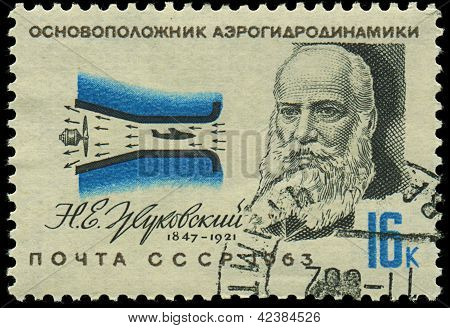 Russia - Circa 1963: A Stamp Printed In Ussr, Show Portrait Founder Of Aerodynamics Zhukovskiy N.e.,