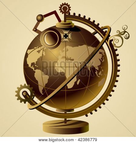 steampunk vector globe