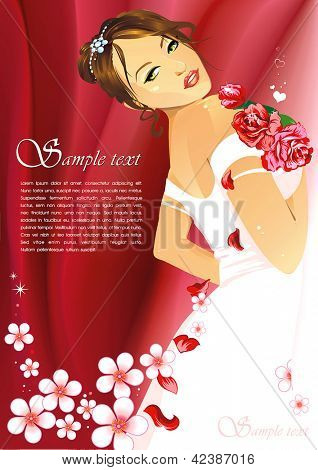 Happy elegant Bride with roses wedding bouquet over red background. Floral bright colorful vector illustration of fashion women in white dress with place for Your text.
