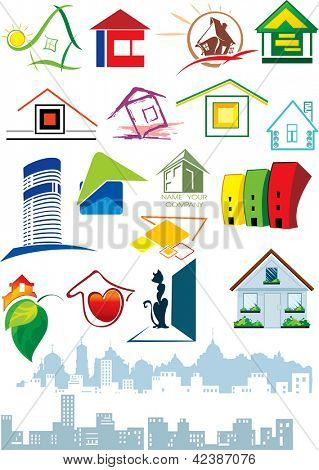 House vector Icons for Web. Construction or Real Estate concept. Abstract color element set of corporate templates. Just place your own brand name.